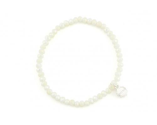 Weißes Glasperlen Armband