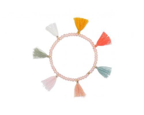 Glasperlen Armband mit Tasseln in pastelligen Tönen