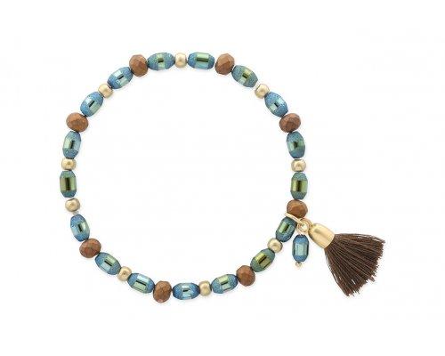 Blaues Armband mit braunen Details