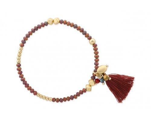 Armband mit roten und goldfarbenen Perlen