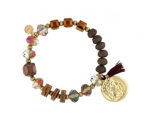 Armband mit Perlen in Braun