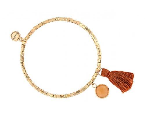 Goldfarbenes Armband mit brauner Tassel