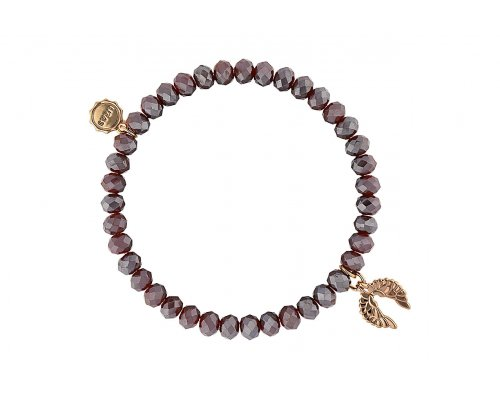 Dunkelrotes Armband mit Flügel als Anhänger