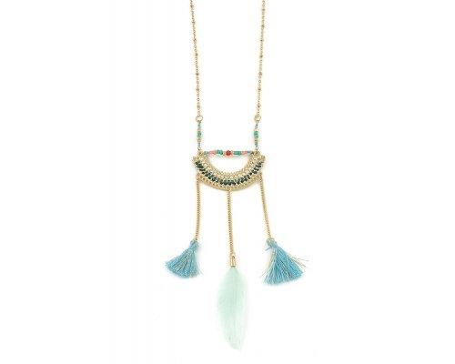 Goldfarbenes Halskette mit blauen Details