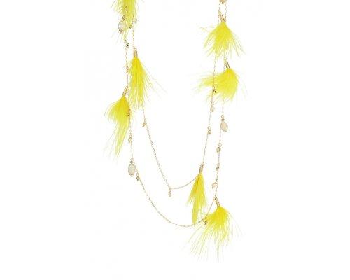 Goldfarbene Halskette mit gelben Federn