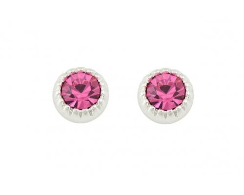 Silberne Ohrstecker mit pinkem Kristall