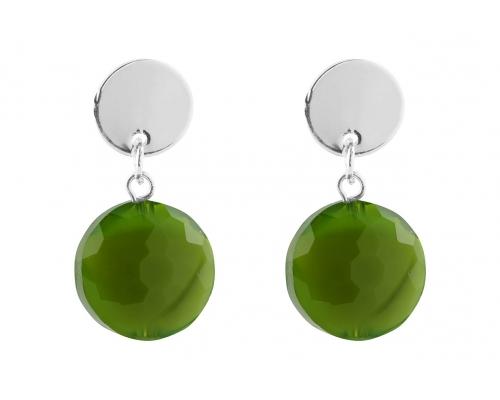 Silberfarbene Ohrhänger mit grünen Steinen