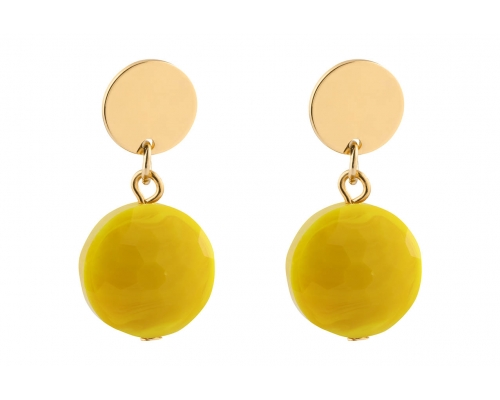 Goldfarbene Ohrhänger mit einem gelben Stein