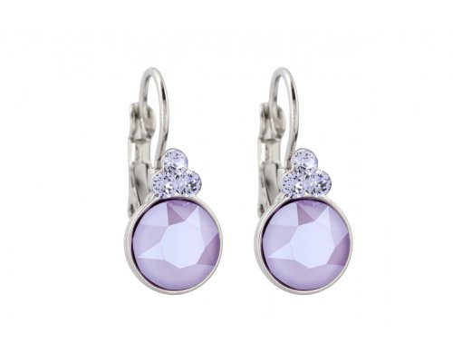 Silberfarbene Ohrhänger mit Lila Stein