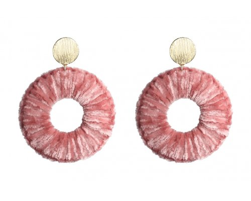 Rosafarbene Ohrhänger aus Samt