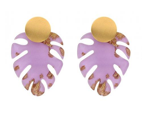Ohrring - Violet Leaf