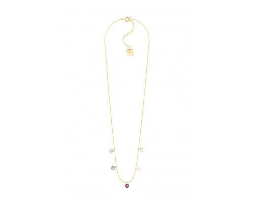 Goldfarbene Halskette mit bunten Steinen