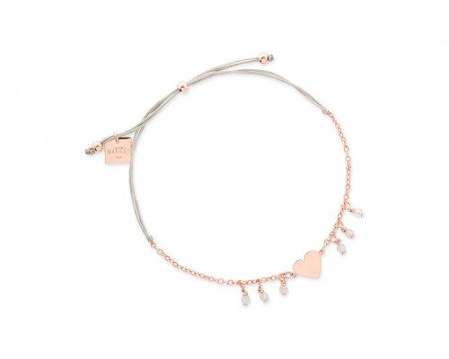 Hellgraues Armband mit rosegoldenen Herz