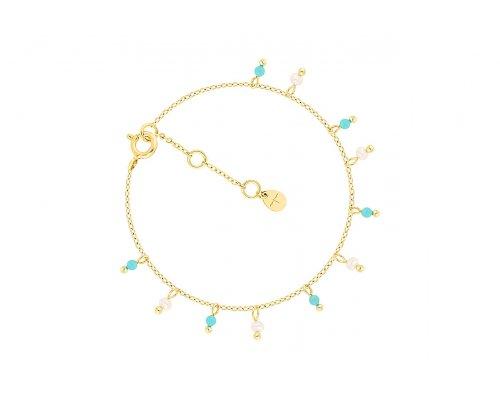 Goldfarbenes Sterling Silber Armband mit entzückenden Anhängern