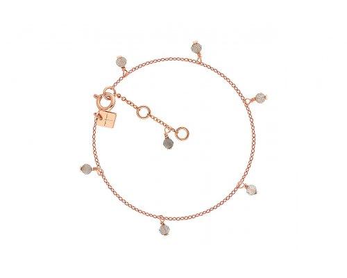 Rosegoldfarbenes Armband mit grauen Steinen