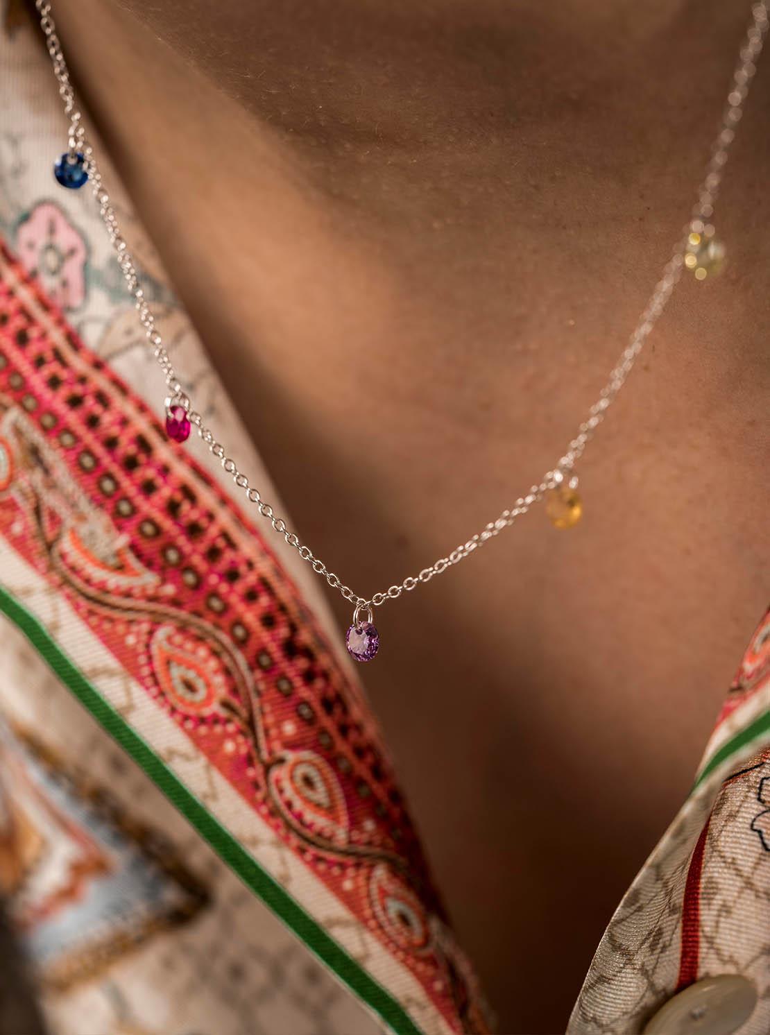 Halskette -  Color Drops Silver