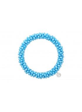 Blaues Armband mit vielen kleinen Glasperlen